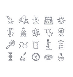 large set chemistry lab and diagrammatic icons vector image