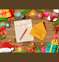 letter with wishes to santa claus vector image