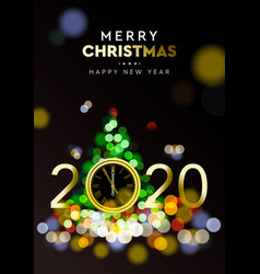 merry christmas and happy new year 2020 - shining vector image
