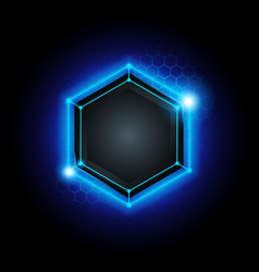 metal cyber hexagon technology background vector image