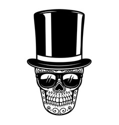 Mexican sugar skull in vintage hat and sunglasses vector