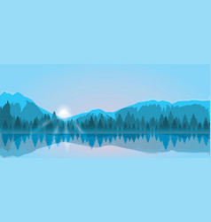 mount and forest sunrise vector image