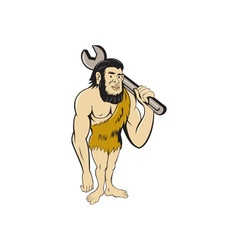 Neanderthal CaveMan With Spanner Cartoon vector