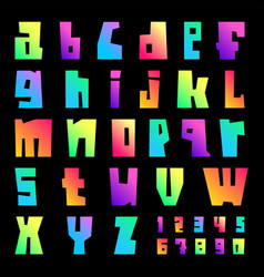 new font cut vibrant letters uppercase vector image