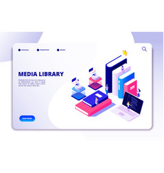 online library landing page students in vector image