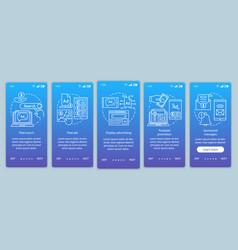 Ppc channels blue gradient onboarding mobile app vector