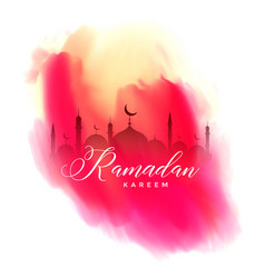 ramadan kareem watercolor background design vector image