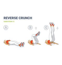 Reverse crunch woman home workout exercise vector