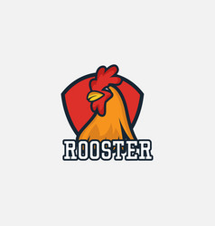 Rooster full color logo template design vector