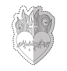 sacred jesus heart icon vector image