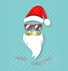 santa claus christmas wear mirrored sunglasses vector image