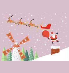 santa claus jumping from reindeer sleigh into the vector image