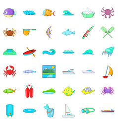 sea water icons set cartoon style vector image