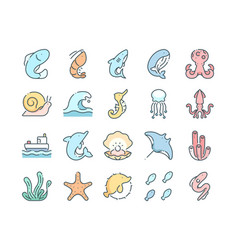 sealife icons set vector image
