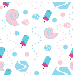 seamless pattern with ice cream - pastel colors vector image