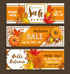 seasonal autumn sale banners vector image
