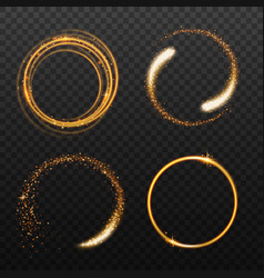Set golden round light effects realistic vector