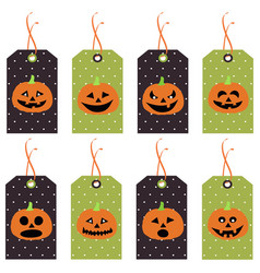 set of cute halloween pumpkins tags vector image