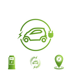 set of icons electric car electric vehicle vector image