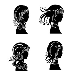 set women with beauty hair vector image
