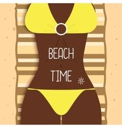Sexy beautiful dark-skinned girl in bikini Young vector