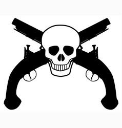 Skull and pistols vector