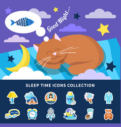 Sleeping time flat icons collection vector