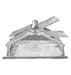 Span roof frame vintage vector
