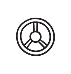 Steering wheel sketch icon vector