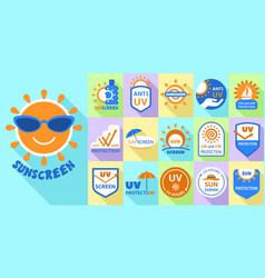 Sunscreen logo set flat style vector