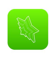 three stars icon green vector image