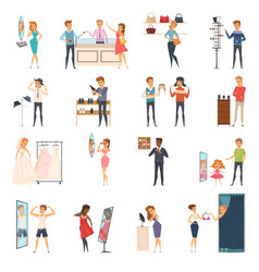Trying shop flat people icon set vector