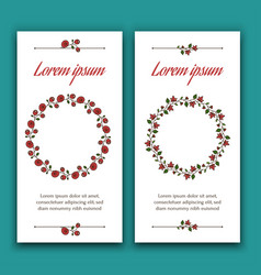 two invitation cards with beautiful floral wreaths vector image