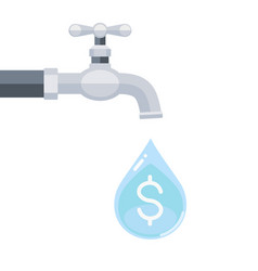 water tap with dollar sign inside water drop vector image
