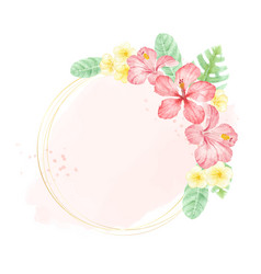 watercolor red summer tropical flower hibiscus vector image