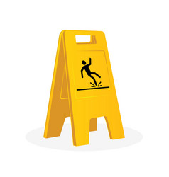 Wet floor sign falling man vector