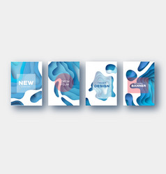 White blue paper cut wave shapes layered curve vector