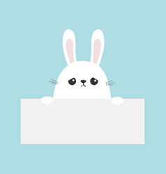 White sad bunny rabbit hanging on empty paper vector