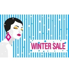 Winter sale Banner Fashion girl Bold minimal vector