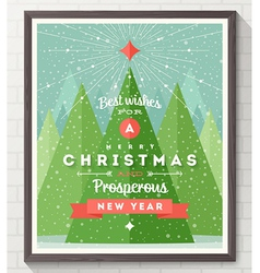 Wooden frame with Flat and type Christmas design vector image