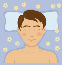 Young man having relaxing flower treatment in spa vector