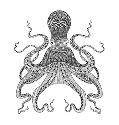 Zentangle stylized black Octopus Hand Drawn vector image