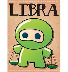 Zodiac sign Libra with cute black ninja character vector image