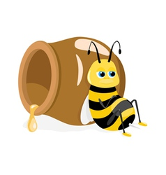 cartoon bee sitting about honey pot on white vector image