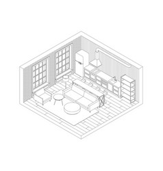 line living room interior vector image vector image