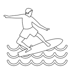 Man with surfboard icon simple style vector image vector image