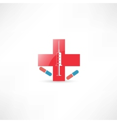 Medical syringe and red cross vector image vector image