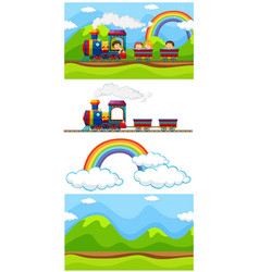 scene with children on the train vector image vector image