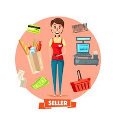 seller woman or cashier in shop retail vector image vector image