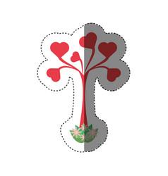 tree shape heart leaves romantic shadow vector image